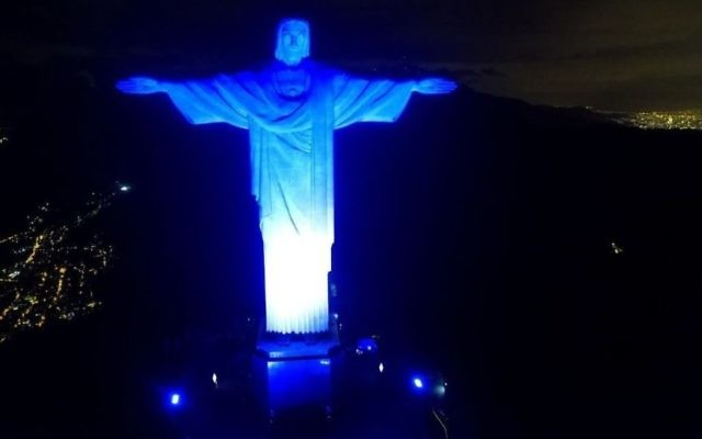 The Christ Redeemer statue in Rio was lit blue and white to mark Israel's 70th anniversary. (Courtesy of Israel's honorary consulate in Rio)