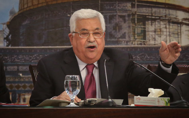 Palestinian Authority President Mahmoud Abbas addressing the Palestinian National Council in the West Bank city of Ramallah, at his presidency compound in the West Bank town of Ramallah, April 30, 2018. (Flash90)