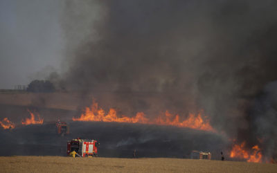 Israeli fire fighters and soldiers attempting to extinguish a fire in a wheat field next to the border with Gaza, May 15, 2018. (Lior Mizrahi/Getty Images)