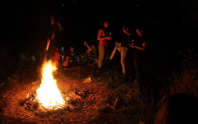 Lag b'Omer celebrants lit traditional bonfires despite warnings by the fire department citing temperatures in the 90s and dryness. (Ben Sales)