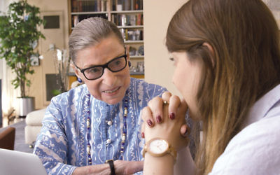 Ruth Bader Ginsburg talks to her granddaughter, Clara Spera. (Photos Courtesy of Magnolia Pictures)