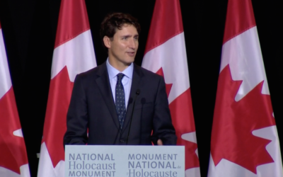 Justin Trudeau speaking at the unveiling of Canada's first Holocaust memorial, Sept. 27, 2017. (Screenshot from CBC News)