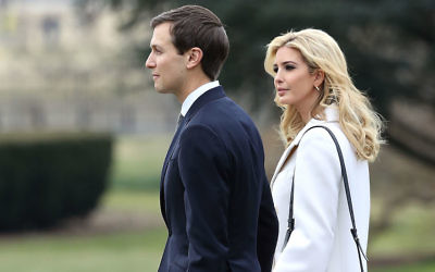 vanka Trump walks with her husband, White House Senior Advisor Jared Kushner, toward Marine One while departing Washington, D.C., with her father President Donald Trump, Feb. 17, 2017. (Mark Wilson/Getty Images)