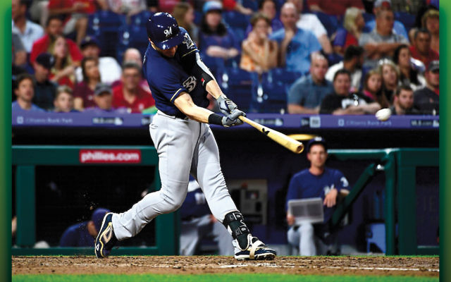 Ryan Braun of the Milwaukee Brewers connecting for his second home run of the game against the Phillies at Citizens Bank Park in Philadelphia, June 8, 2018. (Corey Perrine/Getty Images)