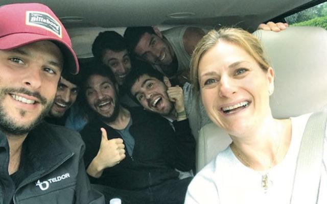 Host Ilana Gdanski drives former IDF soldiers to the mall. (Gdanski family)