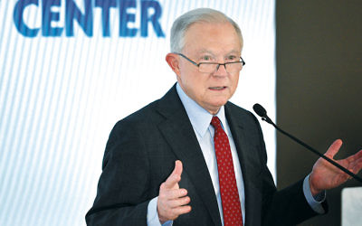 Attorney General Jeff Sessions tells the Orthodox Union Advocacy Center's Annual Leadership Mission that the Justice Department will sue Woodcliff Lake for denying a variance to Valley Chabad.