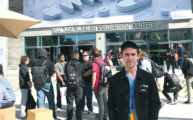 Aryeh Greenberg of Teaneck outside the San Jose Convention Center during Apple's Worldwide Developer's Conference.