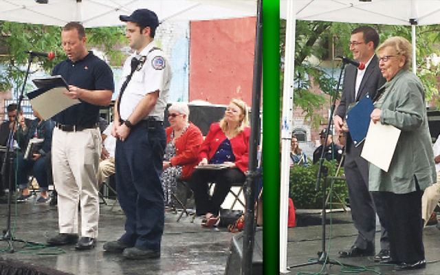 Congressman Josh Gottheimer and Izzy Infield, president of the Teaneck Volunteer Ambulance Corps, participate at a remembrance service at Teaneck's Municipal Green, left.State Senate Majority Leader Loretta Weinberg and Teaneck Mayor Mohammed Hameeduddin with James DiMicco, left. (Photos provided)