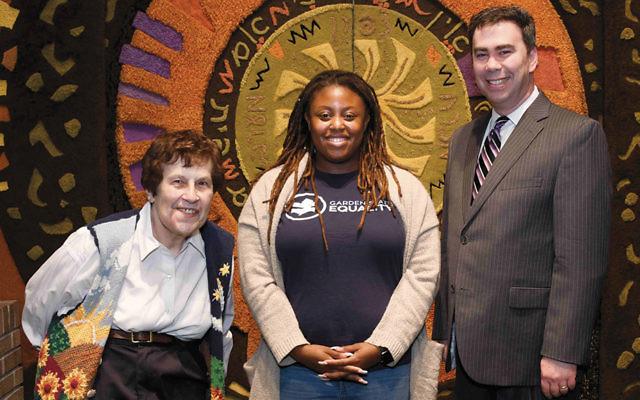 Karen Rappaport, left, chair of Emeth's Viewpoints Committee, Bianca Chanel Mayes, and Rabbi Steven Sirbu. (Barbara Balkin)
