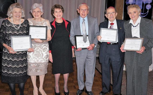 Founding and charter members at the celebration included, from left, Irene Reiss, Helga Bodeen, Lola and Henry Weber, Albert Nahum, and Elaine Adler. (Sandy Alpern)