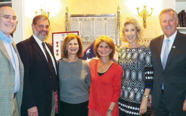 Dr. Daniel Feuer, left, with Drs. David Wisotsky and Lynn Sugarman, Naomi Feuer, Representative Mark Meadows, and his wife, Debbie. (Courtesy Norpac)