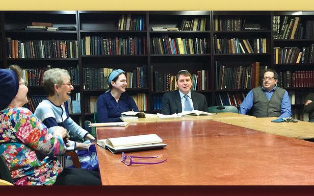 Barbara Shapiro, left, with Debbie Laves, Professor Sarah Rindner, Rabbi Daniel Fridman, Jonathan Mincis, and Herb Stern. (Michael Laves)