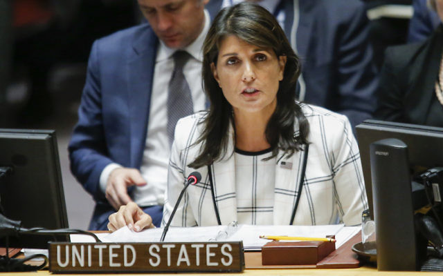 United States Ambassador to the United Nations Nikki Haley speaks during a UN Security Council emergency session on Israel-Gaza conflict at United Nations headquarter in New York City, May 30, 2018. (Eduardo Munoz Alvarez/Getty Images)
