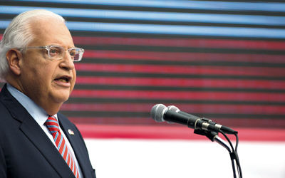 U.S. Ambassador to Israel David Friedman speaks at the opening of the U.S. Embassy in Jerusalem on May 14, 2018. (Lior Mizrahi/Getty Images)