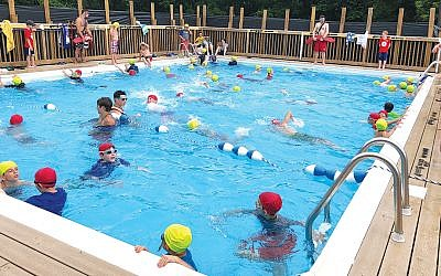 The Swimathon at Camp Shalom in Chestnut Ridge, N.Y., helped raise funds for the Sinai Schools.