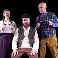 "Yelena Shmulenson, Allen Lewis Rickman, and Shane Baker in ""Tevye Served Raw."""