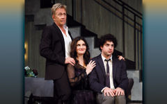 From left, Jack Wetherall, Idina Menzel, and Eli Gelb. (Joan Marcus)