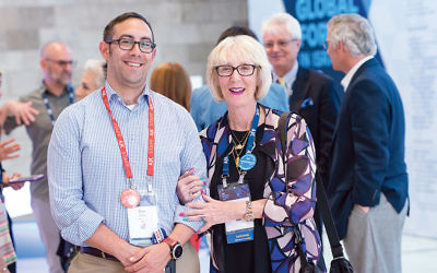 Participants in the AJC Global Forum in Jerusalem included Dov Wilker, the executive director of AJC Atlanta, and his mother, Simone Wilker of River Vale, representing AJC New Jersey. (Photo provided)