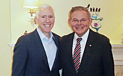 Dr. Mort Fridman, left, with Senator Robert Menendez. (Courtesy Norpac)