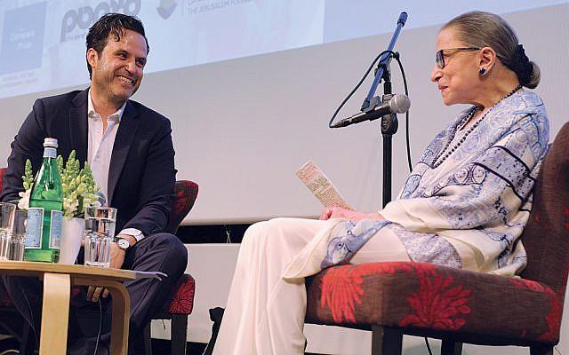 Benjamin Friedenberg, an Israeli filmmaker, interviews Supreme Court Justice Ruth Bader Ginsburg at the Jerusalem Cinematheque on July 5, 2018. (Natasha Kuperman)