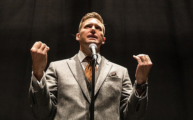 Richard Spencer gestures during a press conference at the University of Florida on October 19, 2017. (Evelyn Hockstein/For The Washington Post via Getty Images)