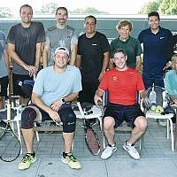 Men's tennis — Top row, from left, Ariel Lebowits, Dan Cohn, Andrew Guberman, Adam Somberg, Deane Penn, Sam Gutmann, Greg McManus, and Tsolak Gevorkian.  Andrew Kent, Scott Placona, Brad Schweid, and Scott Reddin are seated.