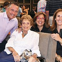 Former JCC board chairs JoJo Rubach, Eleanor Epstein, and Robin Miller are with its current chair, Jodi Scherl.