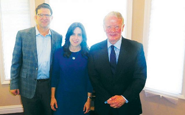 Moshe and Tammy Greenberg, left, with Congressman Leonard Lance. (Courtesy Norpac)