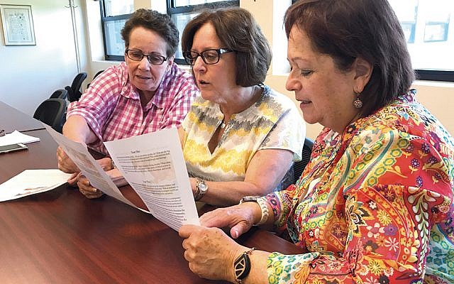 Harriet Teplitzky, left, and Susan Edelstein, both of New City, and Ruth Mindick of Nanuet are at the introductory Melton session. (Photo provided)