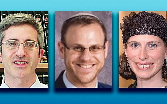 Rabbi Hayyim Angel, left, Rabbi Tzvi Sinensky, and Dr. Tammy Jacobowitz