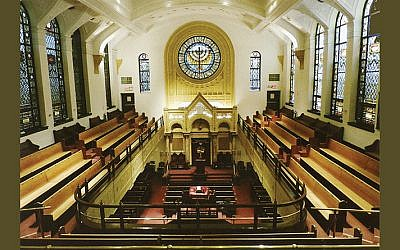 A balcony surrounds the sanctuary of Congregation Ohab Zedek on West 95th Street on Manhattan's Upper West Side.