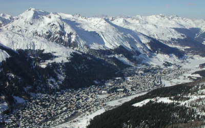 Davos in the Swiss Alps is a popular ski resort town with a conference center that hosts the annual World Economic Forum. (Wikimedia Commons)