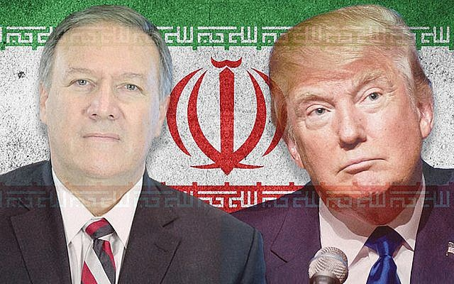 President Donald Trump and Secretary of State Mike Pompeo appear to have differences on Iran. (Illustration by Charles Dunst/JTA; photos from Maxpixel, Wikimedia Commons)