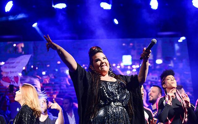 Netta Barzilai, the winner of this year's Eurovision contest, performing at Rabin Square in Tel Aviv, May 14, 2018. (Tomer Neuberg/Flash90)