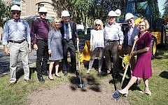 From left, building committee co-chair Ary Freilich, JHAL president Peter Martin, Jewish Home Family president and CEO Carol Silver Elliott, president emeritus Charles P. Berkowitz, Jewish Home At Rockleigh president JoAnn Hassan Perlman, building committee co-chair Bob Peckar, Jewish Home Foundation president Jon Furer, and Jewish Home Family chair Carol K. Silberstein.