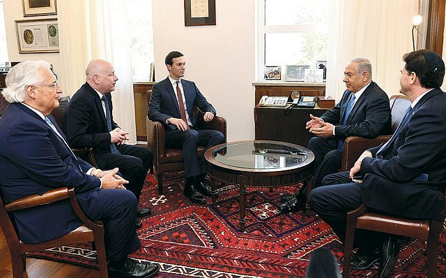 Senior presidential adviser Jared Kushner, third from left, and special representative for international negotiations Jason Greenblatt, second from left, meet with Israeli Prime Minister Benjamin Netanyahu in Jerusalem on June 22, 2018. (Matty Stern/U.S. Embassy Jerusalem)
