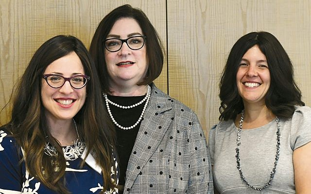 Dr. Aimee Baron, left, Teaneck-based NechamaComfort's director of innovation and growth, Cindy Darrison, Chesed Leadership Program's director, and Alexandra Roth-Kahn, director of UJA-Federation's Caring department (Photo by Kalinin Photography for Touro College)