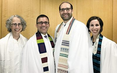 From left, Beth El's Cantor Elizabeth Goldmann and Rabbi David Widzer and Beth Or's Rabbi Noah Fabricant and Cantor Sarah Silverberg.