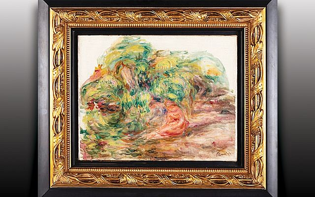 """The Renoir painting """"Deux Femmes Dans Un Jardin"""" was taken from a Paris bank vault during World War II. Last week, it was reuinted with its righful owner  at the Museum of Jewish Heritage. (John Halpern, courtesy MOJH)"""