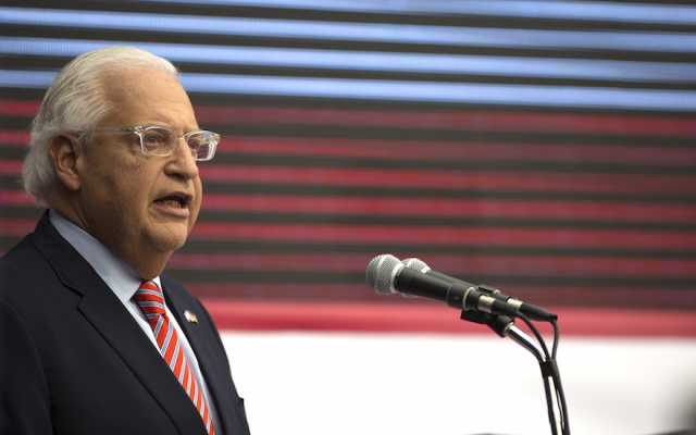 U.S. ambassador to Israel David Friedman speaks on stage on during the opening of the U.S. embassy in Jerusalem, Israel, May 14, 2018. (Lior Mizrahi/Getty Images)