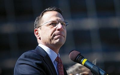 Pennsylvania Attorney General Josh Shapiro addresses a Stand Against Hate rally at Independence Mall in Philadelphia on March 2, 2017.  (Jessica Kourkounis/Getty Images)