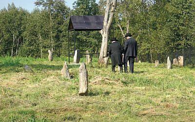 Visitors explore one of the Jewish cemeteries in Lyubavichi, Russia.  (Cnaan Liphshiz)