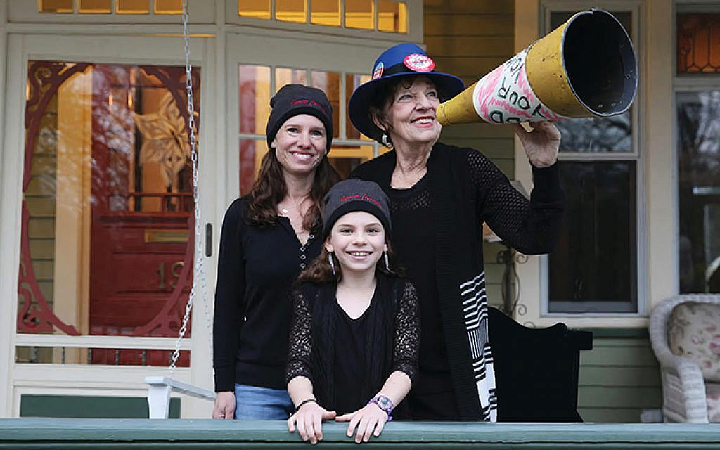 """""""This is what democracy looks like — Three generations marching,"""" Charlotte Bennett Schoen says; here, at the 2016 Women's March in Washington, she's joined by her daughter Lindsay Schoen and her granddaughter Capri Gigante."""