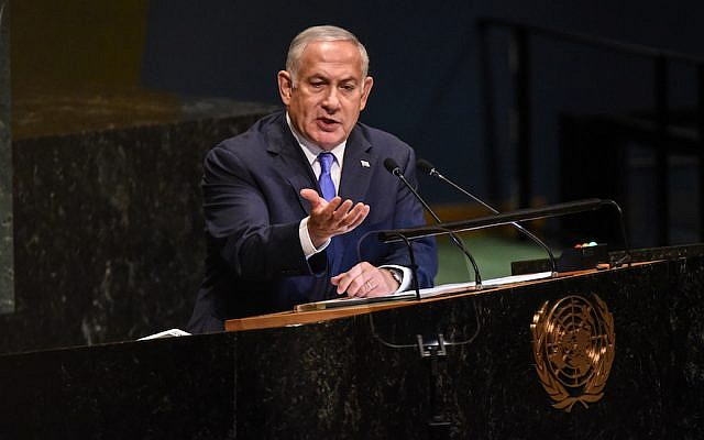 Benjamin Netanyahu speaking at the United Nations during the U.N. General Assembly in New York City, Sept. 27, 2018. (Stephanie Keith/Getty Images)