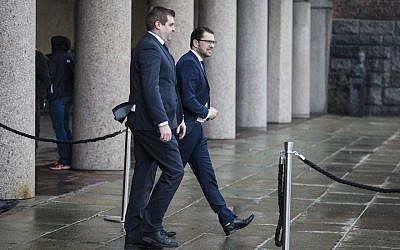 Jimmy Akesson, right, is leader of the Sweden Democrats. He is shown here in Stockholm, April 10, 2017. (Michael Campanella/Getty Images)