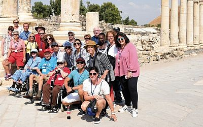 The group from Jewish Home Family facilities tours the Roman ruins at Beit She'an.