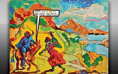 Archie Rand's painting illustrates the biblical story of Balaam beating his donkey for knowing too much. (Jewish Art Salon)