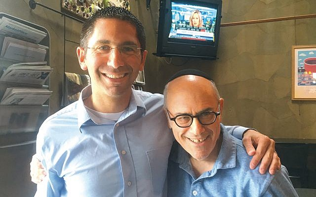 Rabbi Paul Jacobson, left, and Rabbi J.J. Schacter meet at the Lazy Bean in Teaneck.