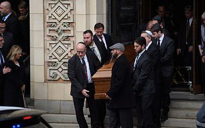 Caskets are carried out of Rodef Shalom Temple following the funeral of brothers Cecil and David Rosenthal in Pittsburgh, Oct. 30, 2018. (Jeff Swensen/Getty Images)