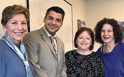 Harriet Spewack, left, with Rabbi Brian Leiken, Ruth Mindick, and Barbara Etelson in a Midreshet class. (Courtesy Rockland Federation)